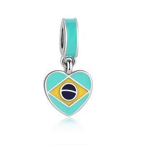 Berloque Coração Brasil Esmaltado