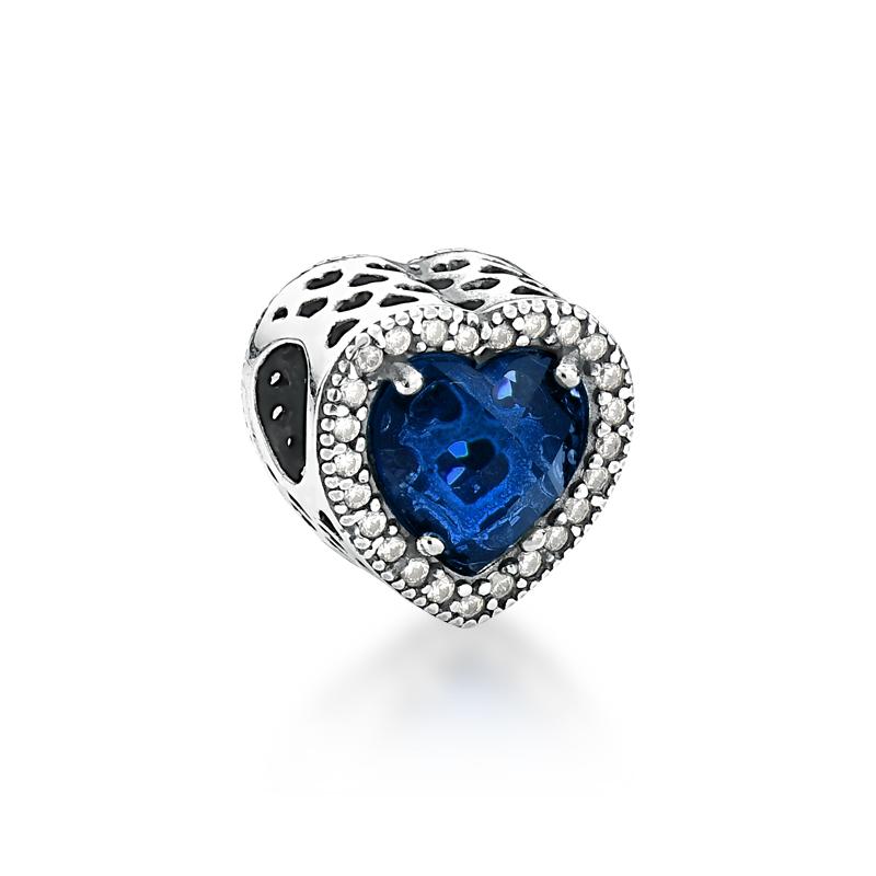 Berloque Coração Brilho Azul Escuro