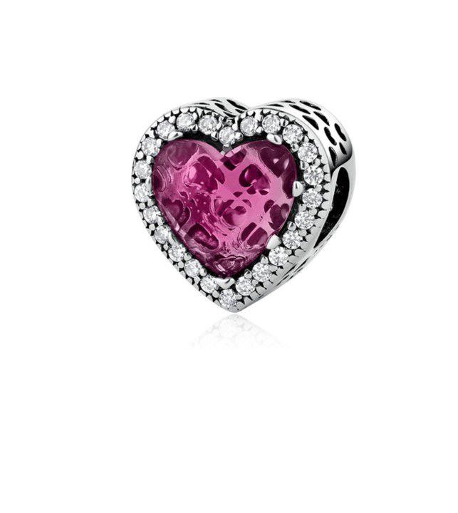 Berloque Coração Brilho Rosa