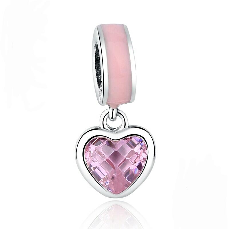 Berloque Coração Brilho Zircônia Rosa