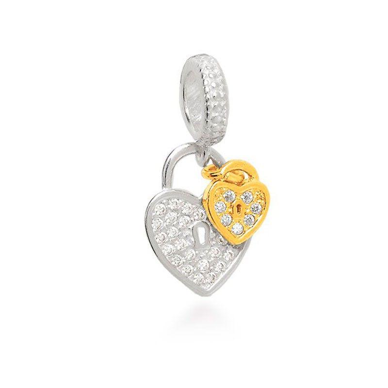 Berloque Coração Cadeado Dourado