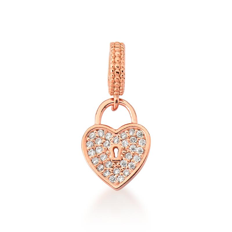 Berloque Coração Cadeado - Ouro Rose