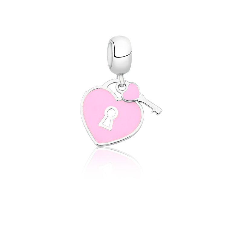 Berloque Coração Cadeado Rosa