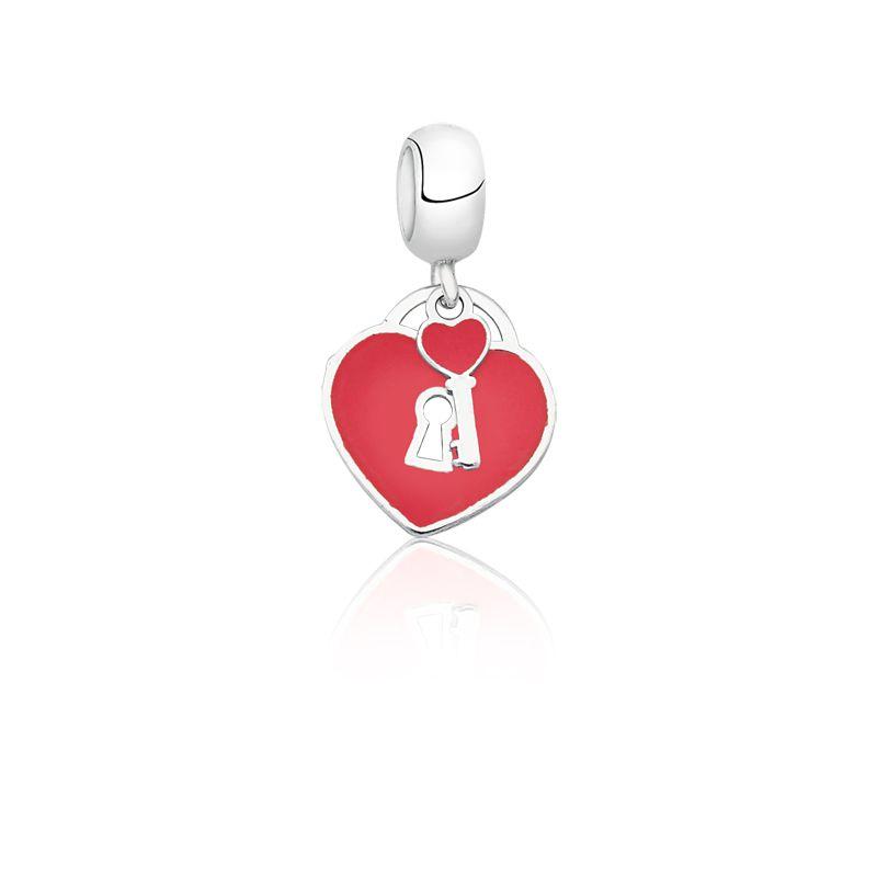 Berloque Coração Cadeado Vermelho