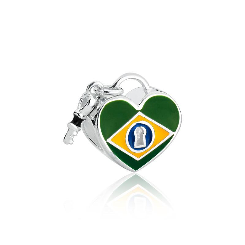 Berloque Coração Chave Brasil