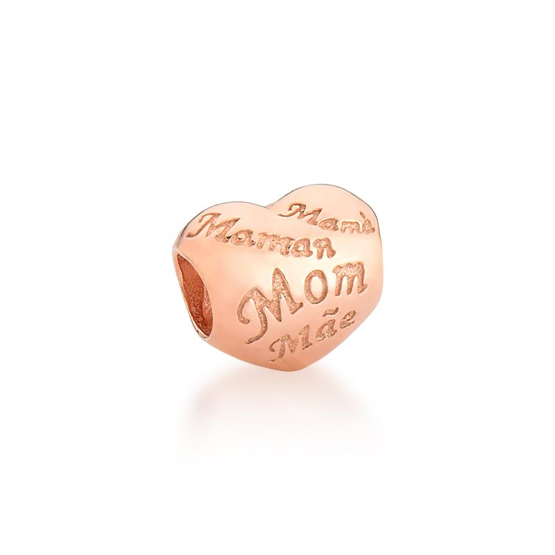 Berloque Coração de Mãe - Ouro Rose