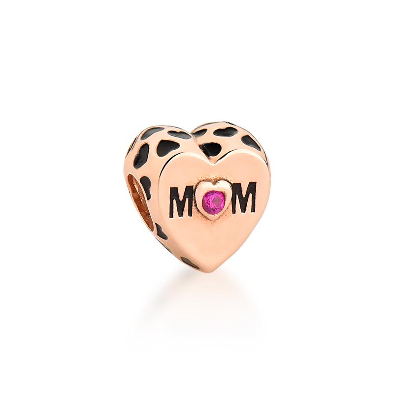 Berloque Coração de Mãe Zircônia Rosa - Ouro Rose
