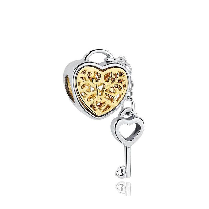 Berloque Coração Dourado Chave - Prata Italiana