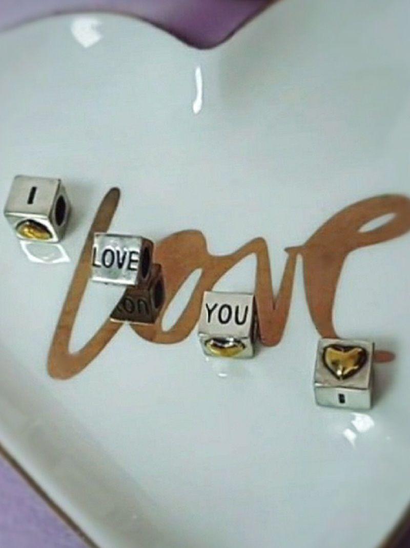 Berloque Coração Dourado I Love You - Prata Italiana