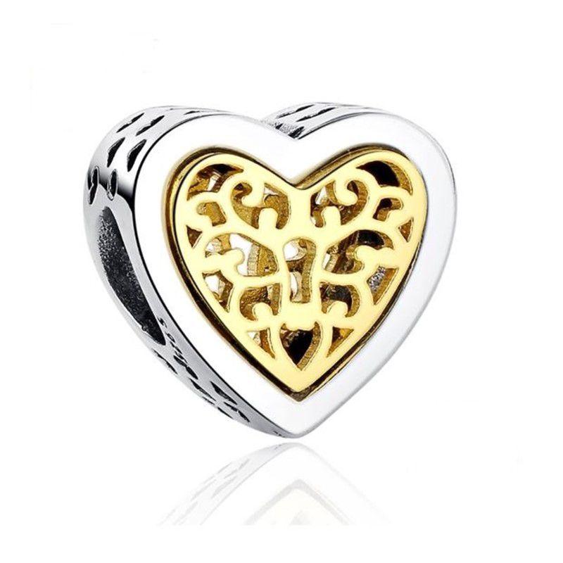 Berloque Coração Dourado - Prata Italiana