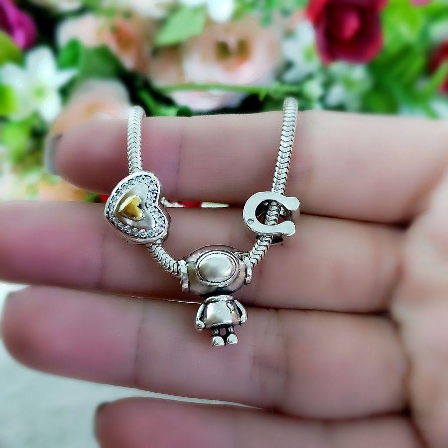 Berloque Coração Dourado Zircônia Cristal - Prata Italiana