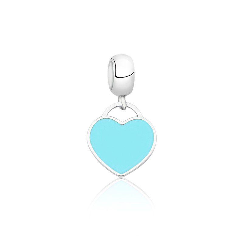 Berloque Coração Esmaltado Azul