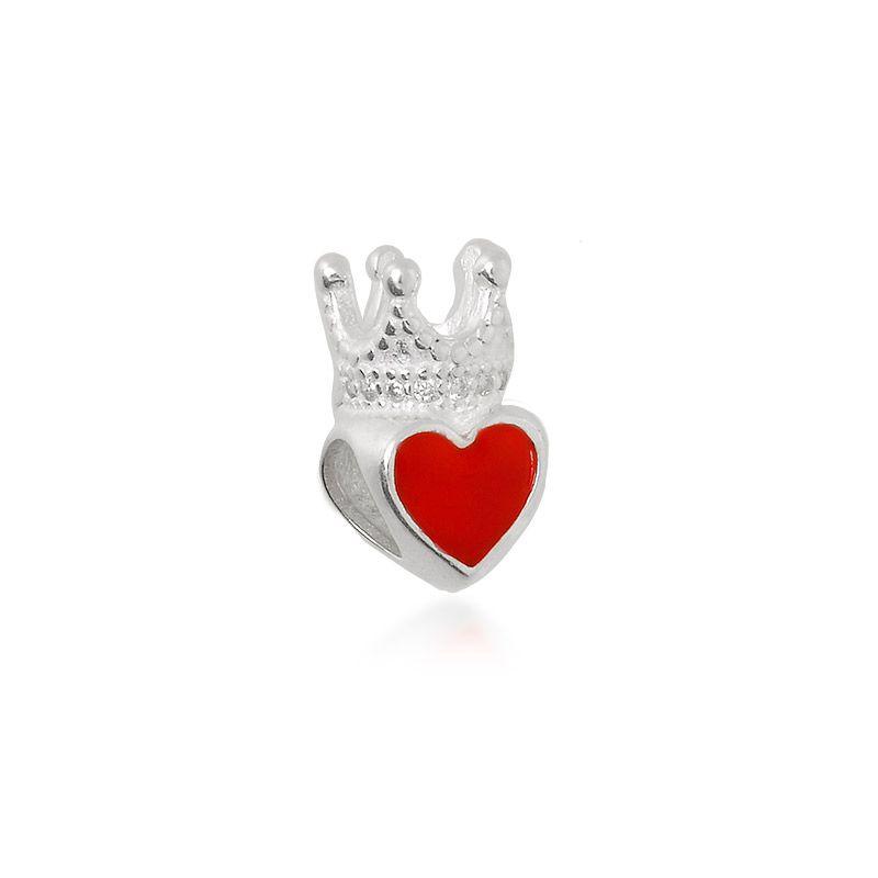 Berloque Coração Esmaltado Coroa