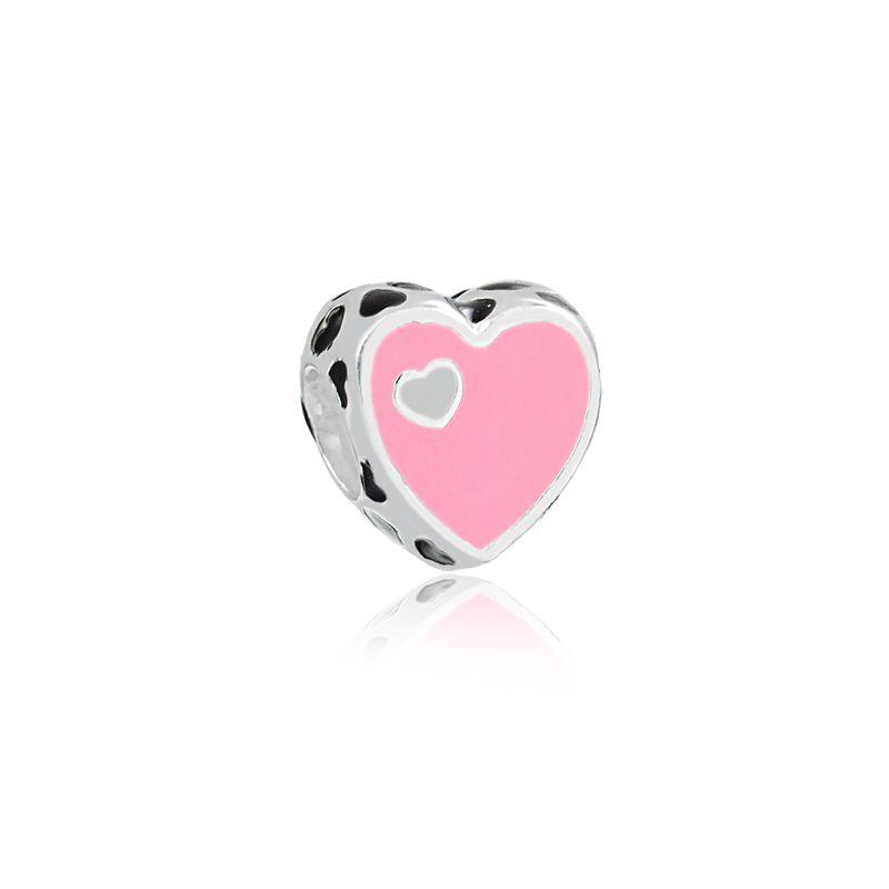 Berloque Coração Esmaltado Rosa