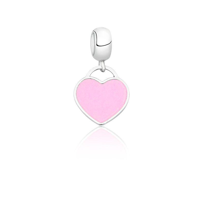 Berloque Coração Esmaltado Rosa II