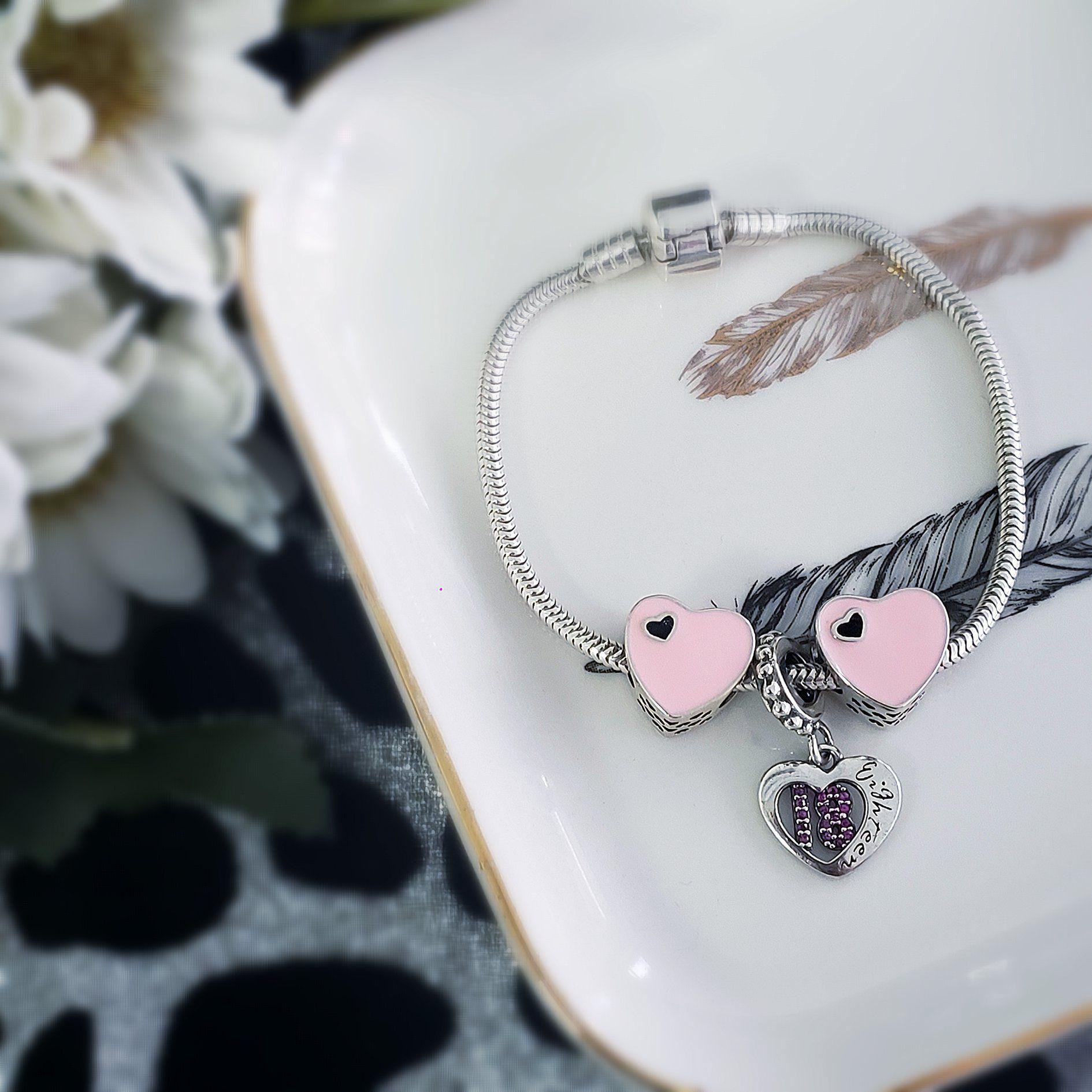 Berloque Coração Esmaltado Rosa - Prata Italiana