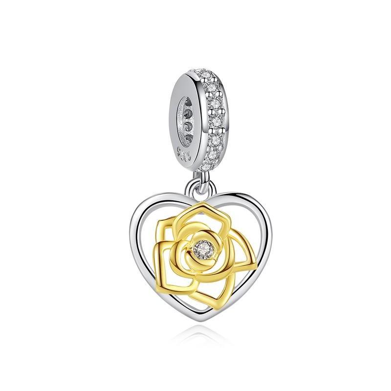 Berloque Coração Flor Dourada Zircônia Cristal - Prata Italiana