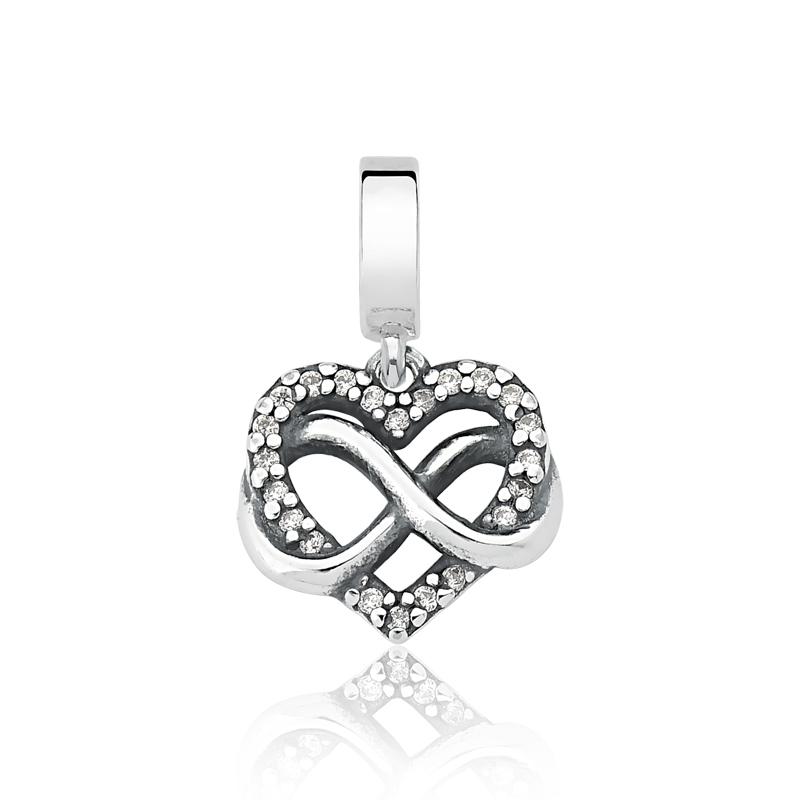 Berloque Coração Infinito Zircônia Cristal