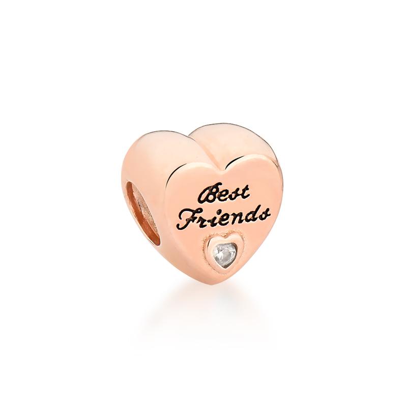 Berloque Coração Melhores Amigas - Ouro Rose