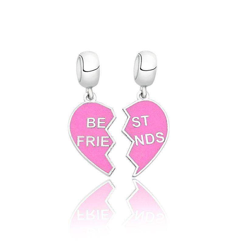 Berloque Coração Melhores Amigas - Rosa
