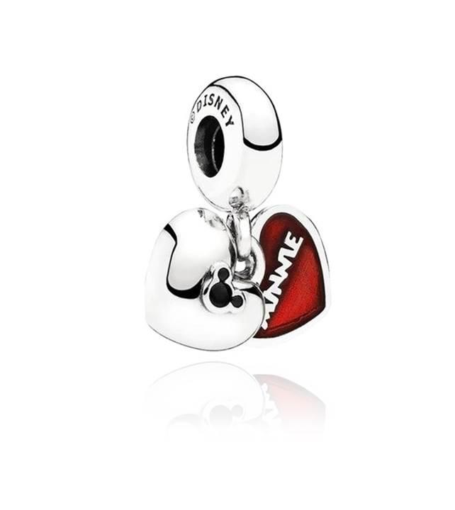 Berloque Coração Mickey e Minnie