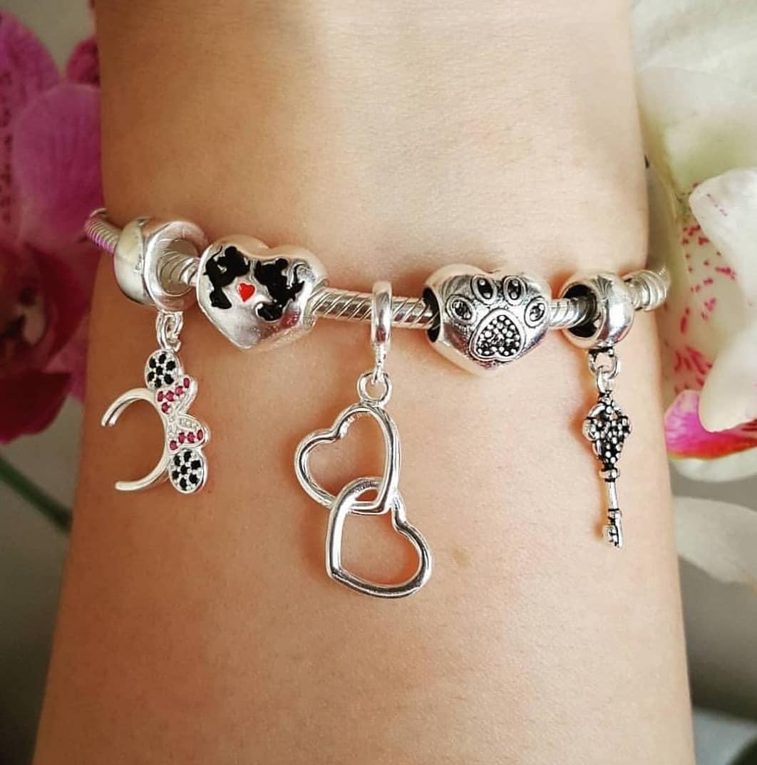 Berloque Coração Minnie e Mickey