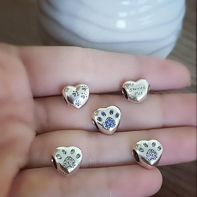 Berloque Coração Patinha Zircônia Cristal - Prata Italiana