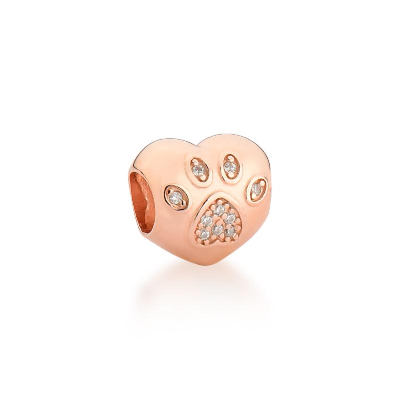 Berloque Coração Patinha Zircônias - Ouro Rose