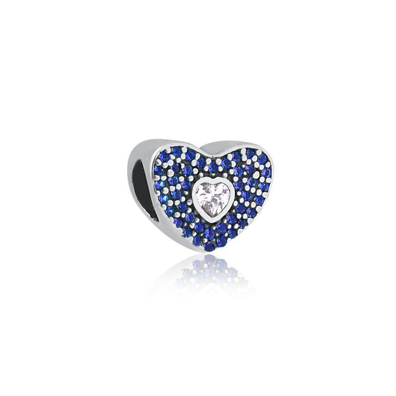 Berloque Coração Pavê Azul Ponto Zircônia