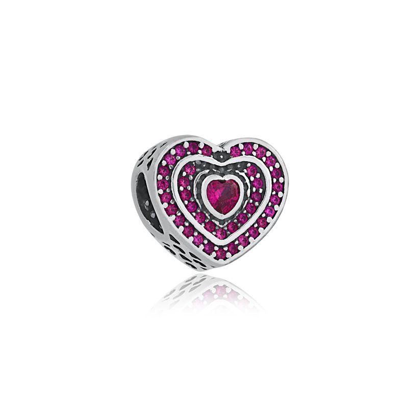 Berloque Coração Pavê Zircônias Rosa