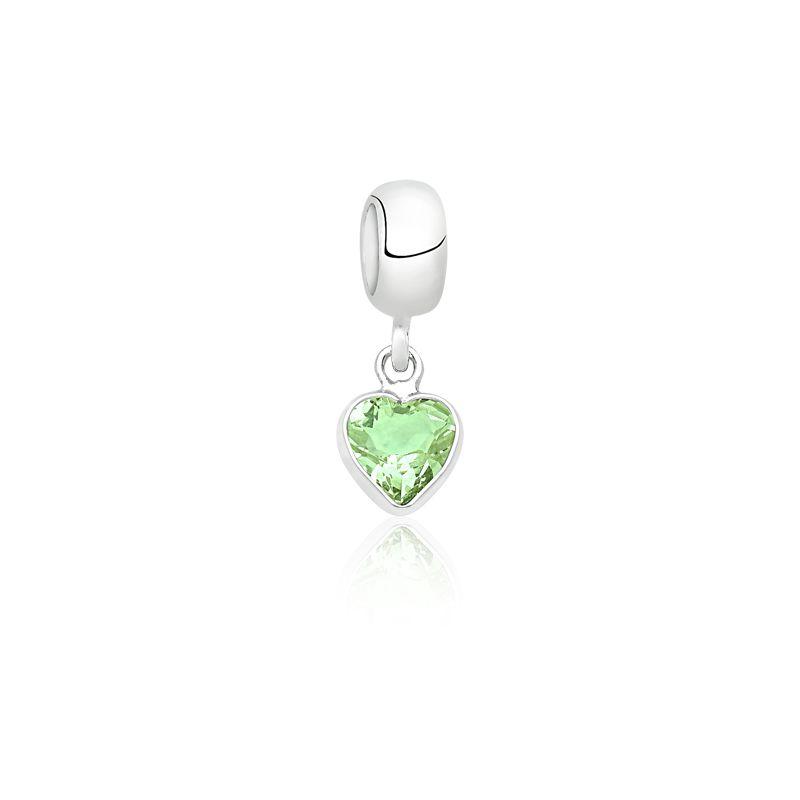 Berloque Coração Pedra Berilo