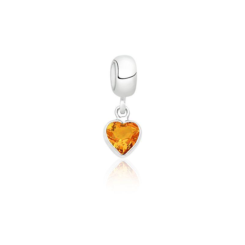 Berloque Coração Pedra Citrino