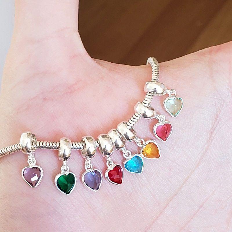 Berloque Coração Pedra Cristal