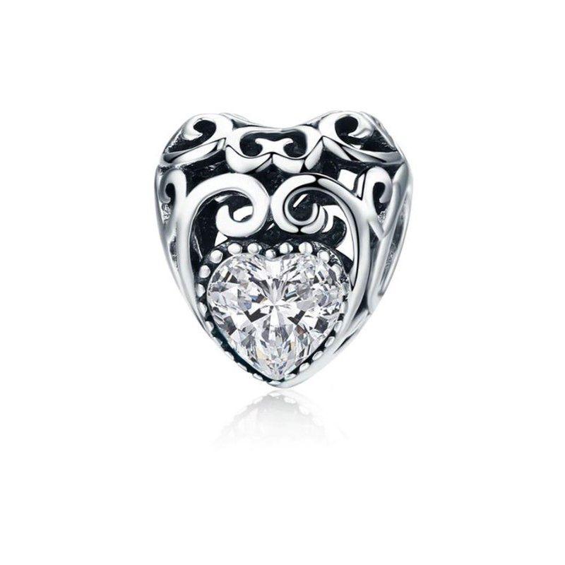 Berloque Coração Pedra Cristal - Prata Italiana