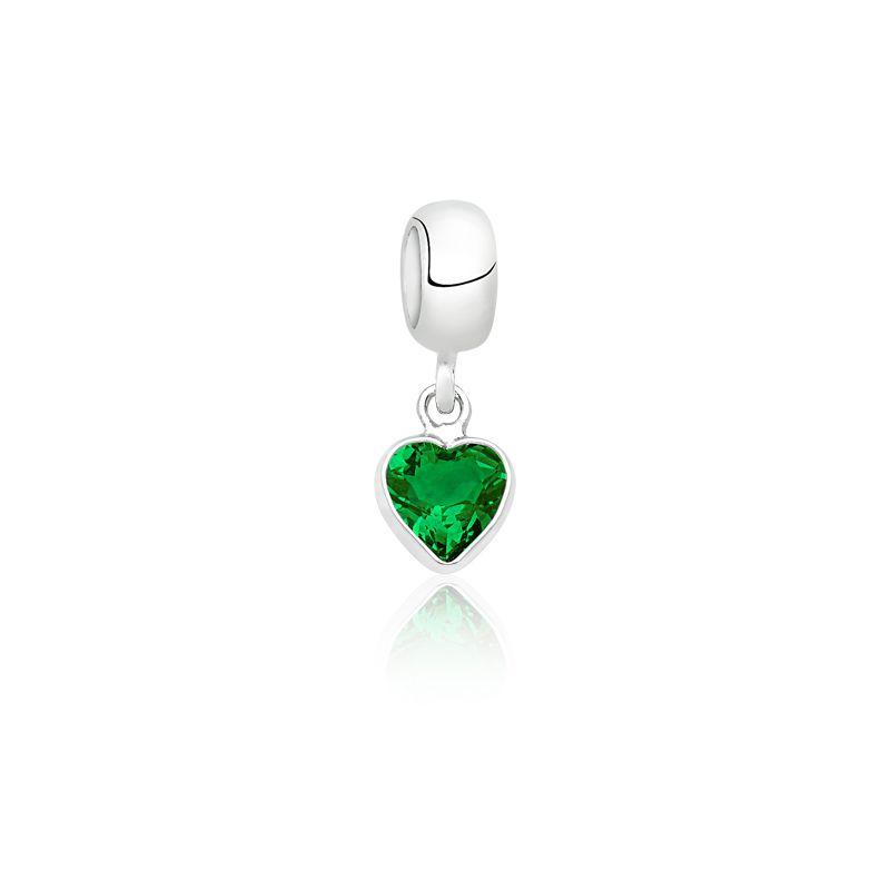 Berloque Coração Pedra Esmeralda