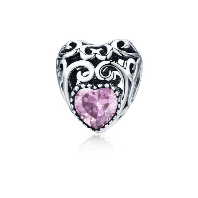 Berloque Coração Pedra Rosa - Prata Italiana