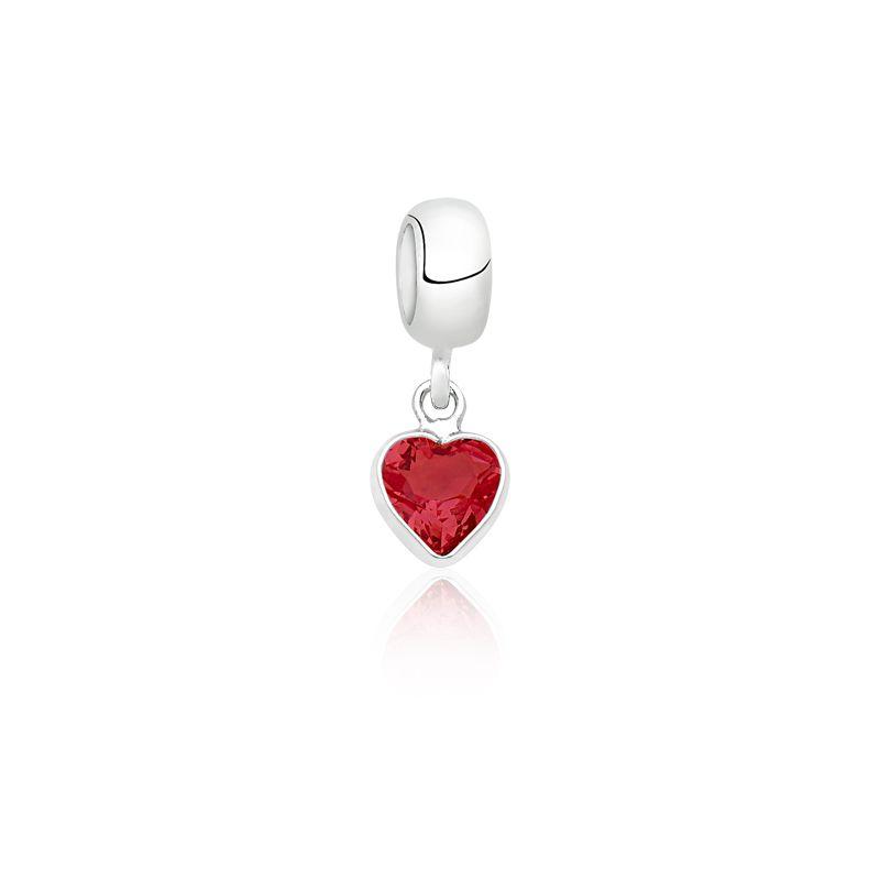 Berloque Coração Pedra Rubi