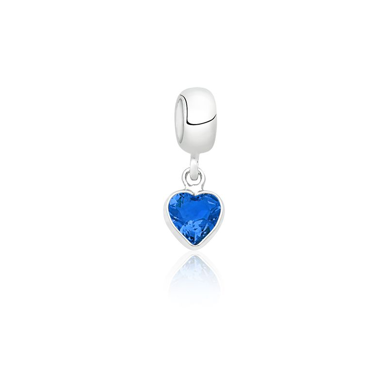 Berloque Coração Pedra Safira