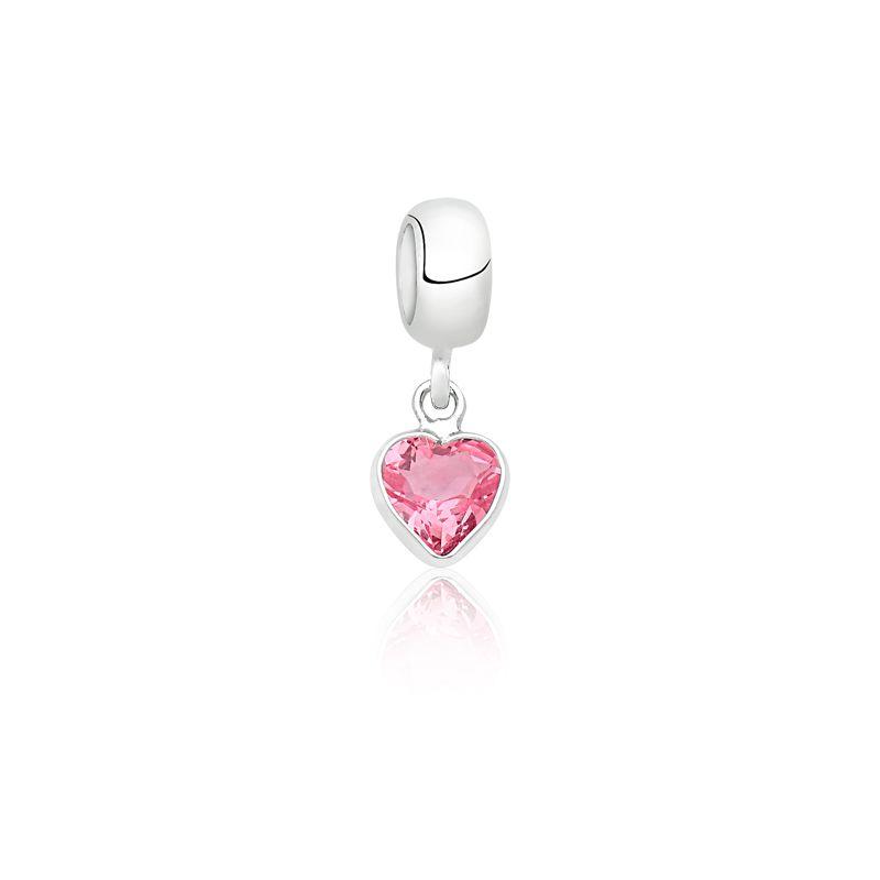 Berloque Coração Pedra Safira Rosa