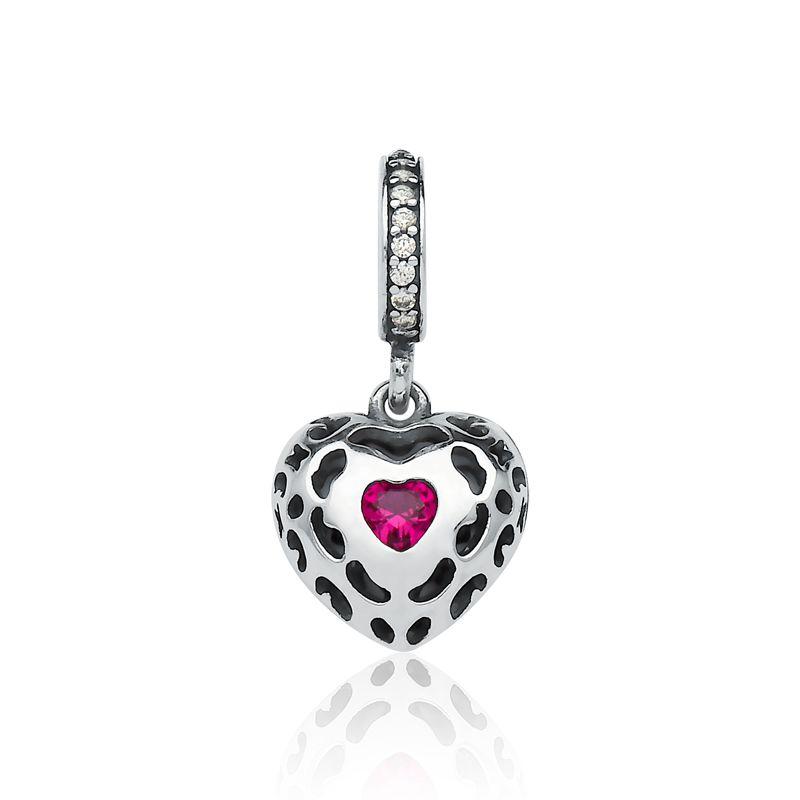 Berloque Coração Ponto Zircônia Rosa