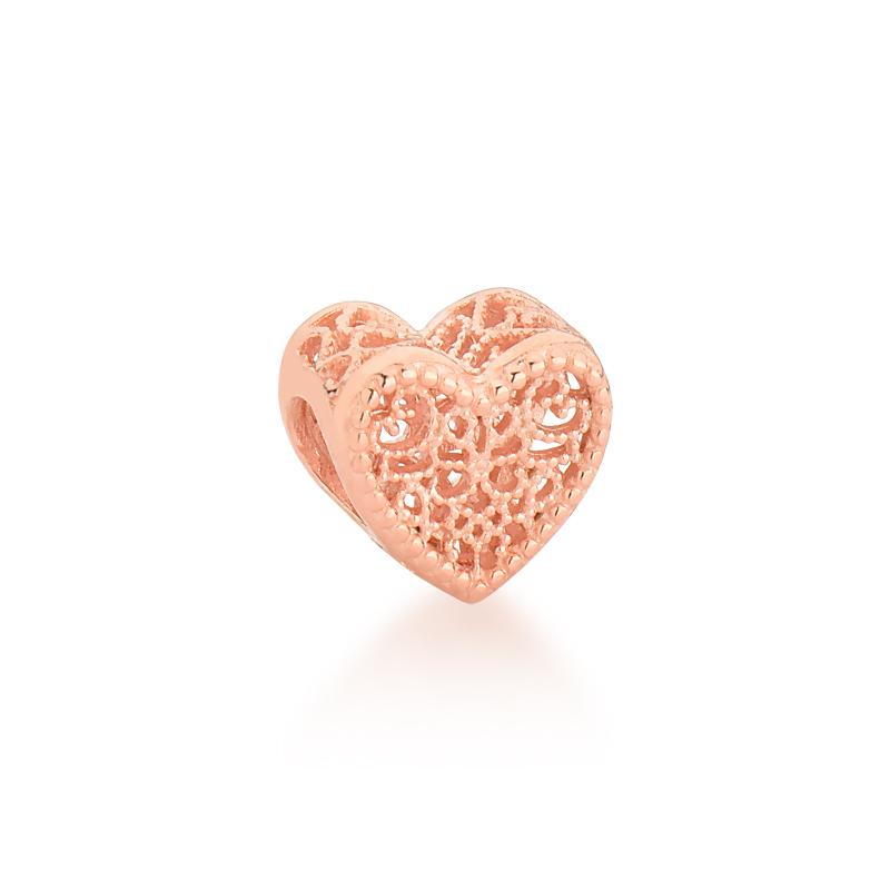 Berloque Coração Vazado - Ouro Rose