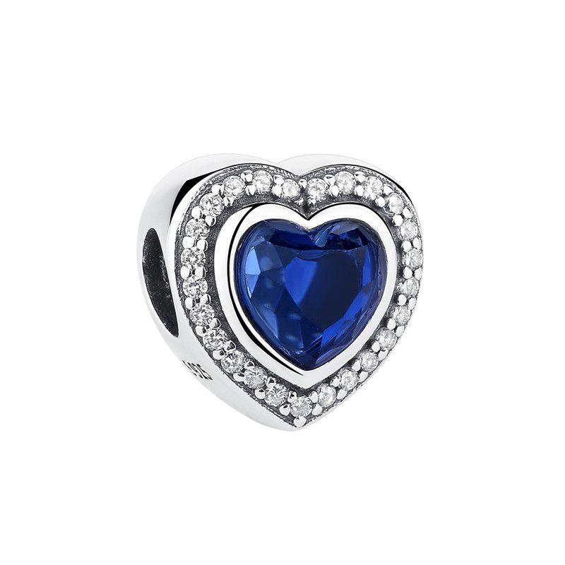 Berloque Coração Zircônia Pedra Azul - Prata Italiana