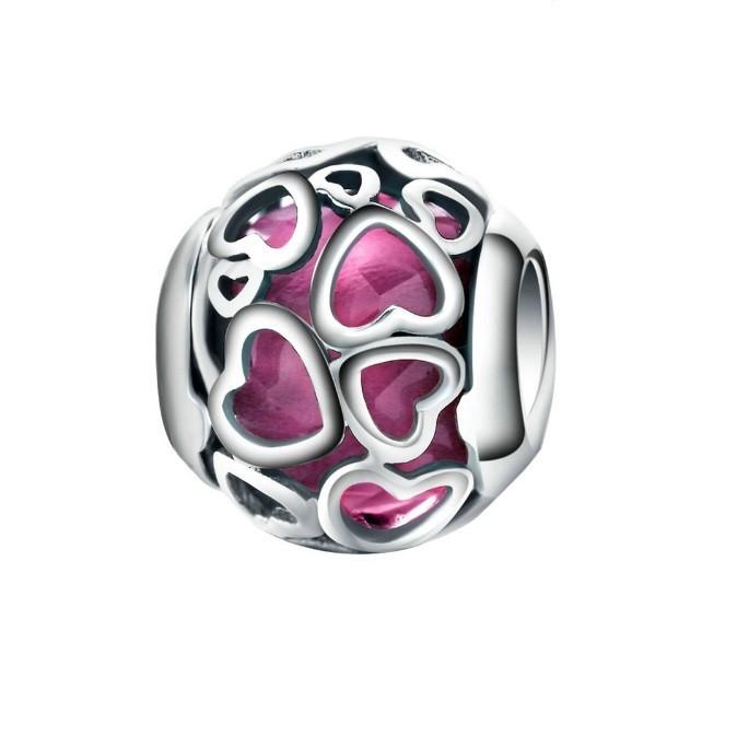 Berloque Corações Brilho Rosa - Prata Italiana
