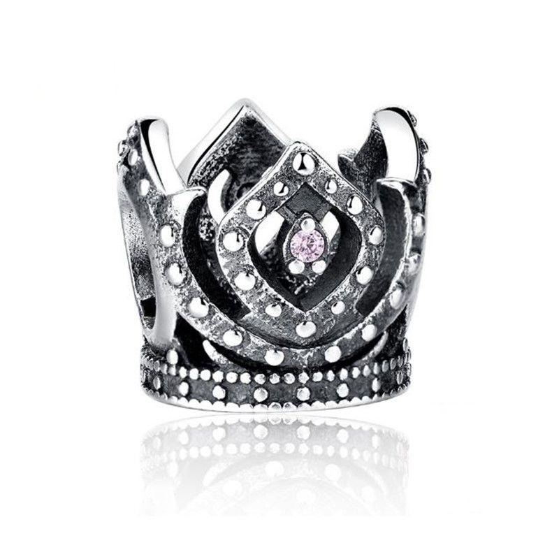 Berloque Coroa Princesa Zircônia Rosa