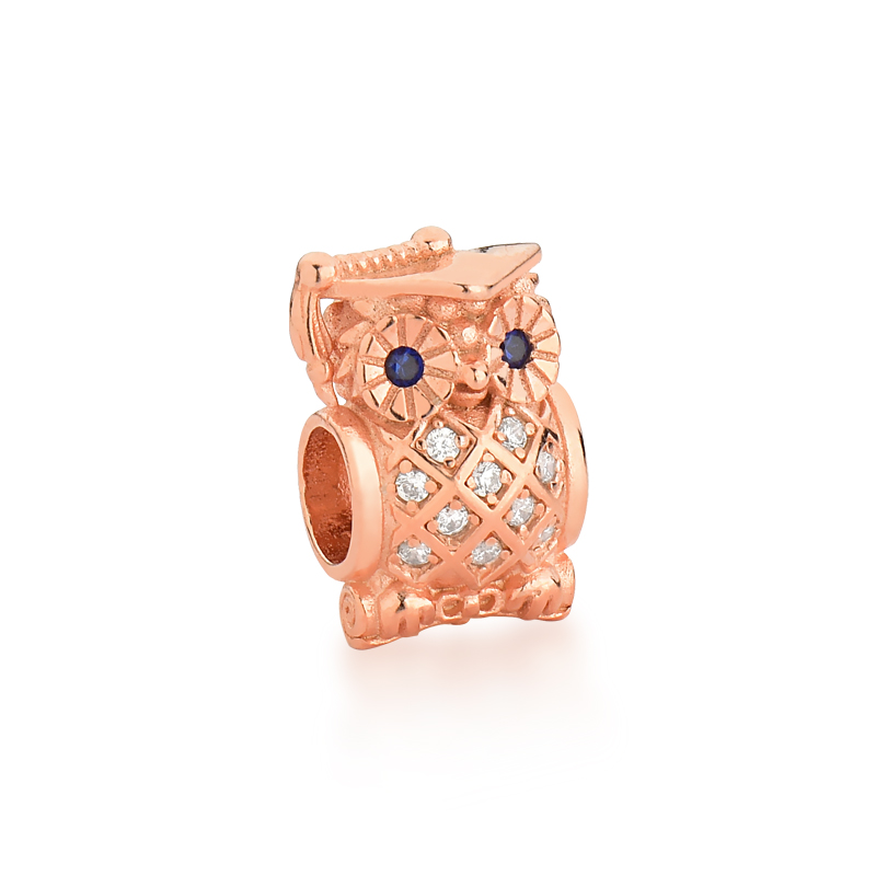 Berloque Coruja Luxo Zircônias - Ouro Rose