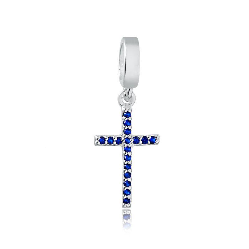 Berloque Cruz Zircônia Azul