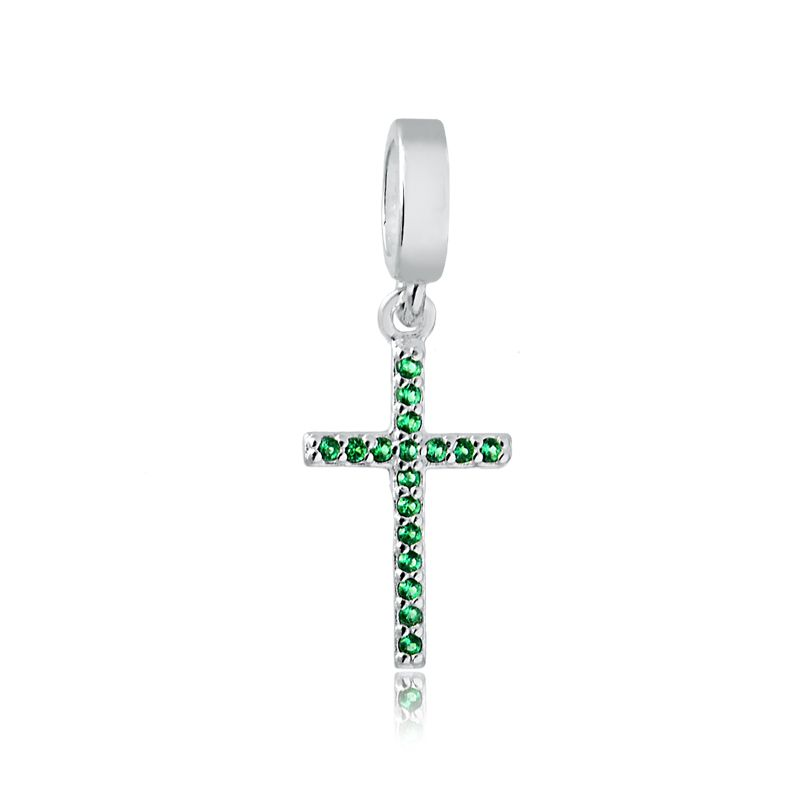 Berloque Cruz Zircônia Verde