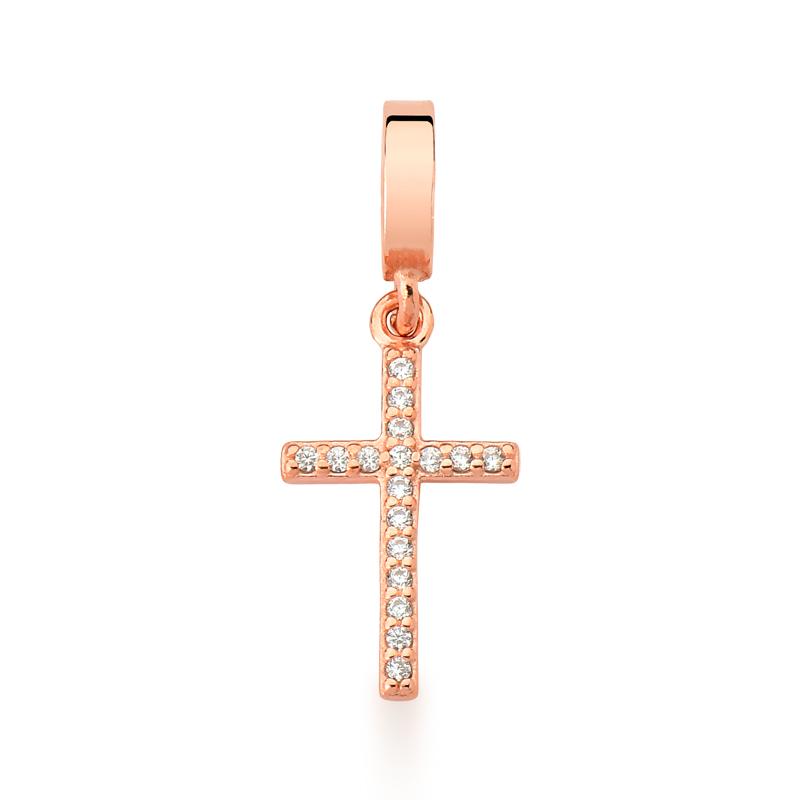 Berloque Cruz Zircônias - Ouro Rose