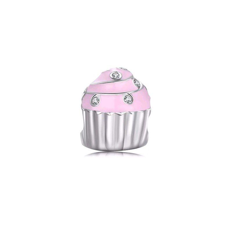 Berloque Cupcake Rosa com Zircônias Italiana