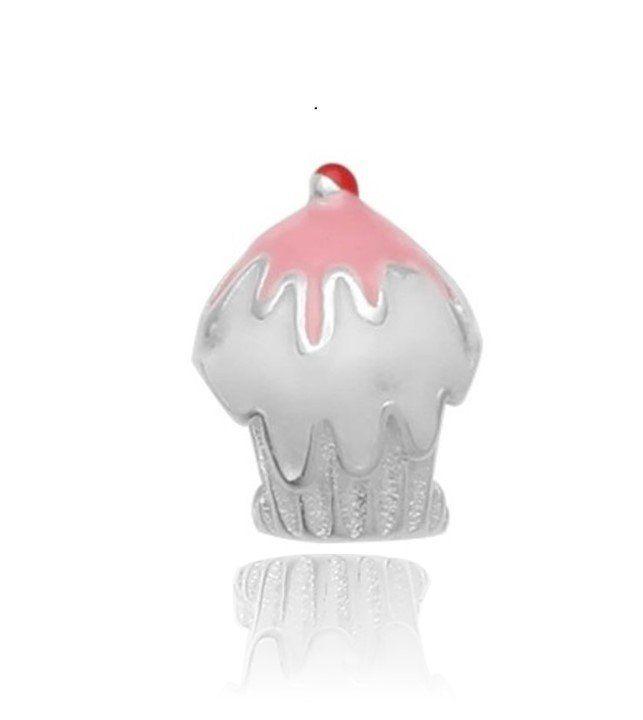 Berloque Cupcake Rosa - Morango